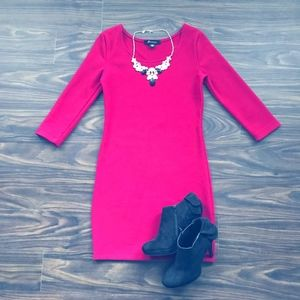 Quarter Sleeve Fuchsia Dress